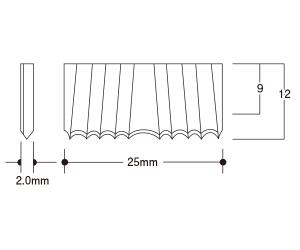 波釘(肩幅25.0mm長さ9mm)